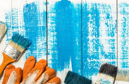 brush painting: painting brush tool  on wood