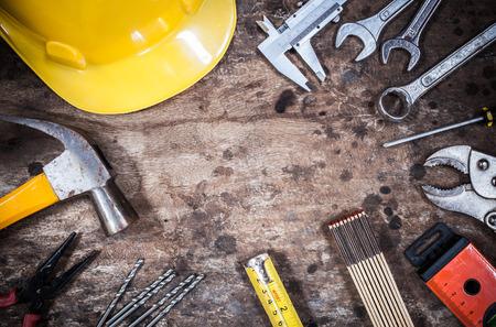 toolbox: tool kit renovation on grunge wood
