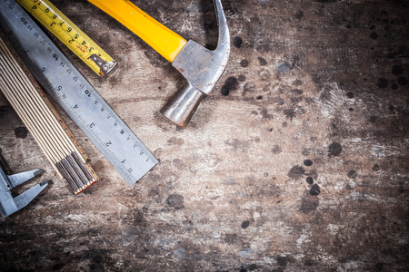 tool kit renovation on grunge wood