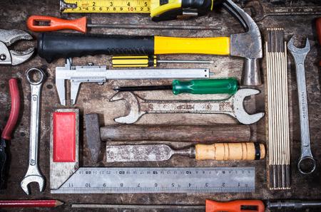 tool kit: tool kit on grunge wood Stock Photo