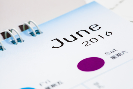 paper calendar with text june month Stock Photo