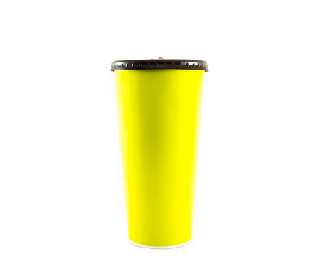 paper cup: green paper cup on isolated background Stock Photo