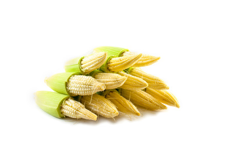 baby corn: baby corn on isolated background Stock Photo