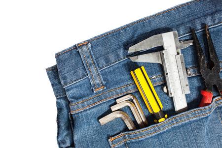 tool kit: tool kit on jean background