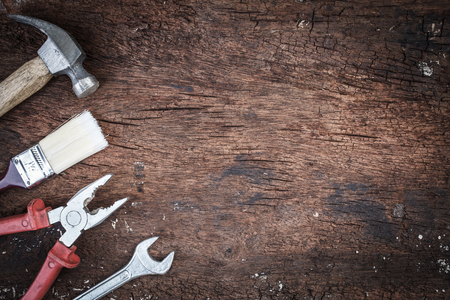 tool kit: tool kit with copyspace on grunge wood
