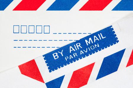 closeup text airmail on envelope Stock Photo