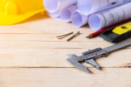 Tool kit construction planning on wooden board Stock fotó