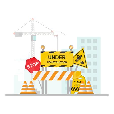 Im Bau Konzept mit Halt, Sicherheit und Verkehrszeichen. flaches Design-Vektor-Illustration