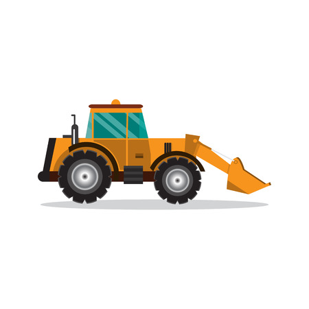 Bulldozer isolated on white background. Construction digger machine. vector illustration flat design