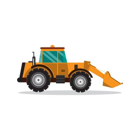 Bulldozer isolated on white background. Construction digger machine. vector illustration flat design
