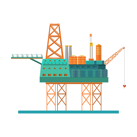 Oil rig at the sea. Oil platform, gas fuel, industry offshore, drill technology isolated on white background, vector illustration flat style  Vectores