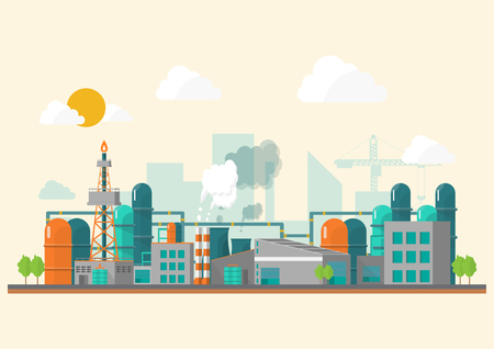Industrial factory in a flat style.Vector and illustration of manufacturing building.Eco style concept.City landscape