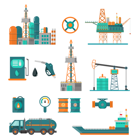 Set of oil industry extraction production and transportation oil and petrol, rig and barrels on flat cartoon icons. Isolated vector illustration. Illustration