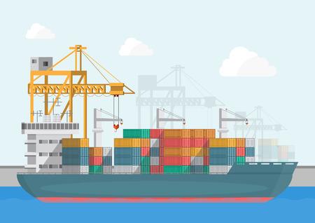 Logistyka magazynów i portów spedycyjnych na płaskiej stylistyce. ilustracji wektorowych transport i dostawa Ilustracje wektorowe