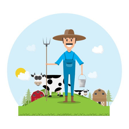 Farmer cartoon character with milk cow in organic rural farm. vector illustration Vettoriali