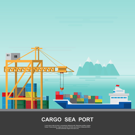 Warehouse and shipping port logistic on a flat style. Stock Vector - 96237725