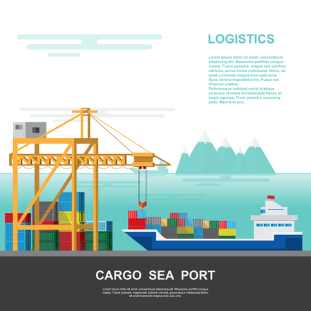 Warehouse and shipping port logistic on a flat style. vector illustration transportation and delivery