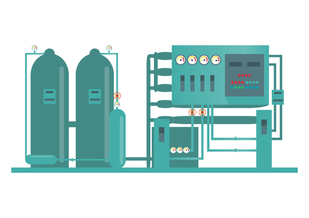 Industrial factory machine and manufacture process technology  in flat style. vector illustration Illustration