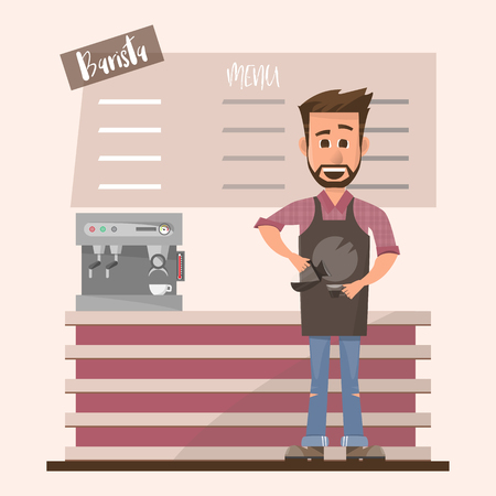 friendly barista in front of coffee machine in a coffee shop. He pouring milk and making a cup of coffee. Cartoon restaurant staff. Vector illustration 向量圖像