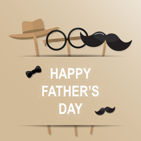 Happy Father's Day greeting card. Design with bow tie, mustache, black glasses on retro paper background. Vector illustration. Çizim