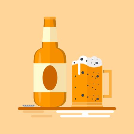 glass of beer mug and bottle flat icon design, vector illustration