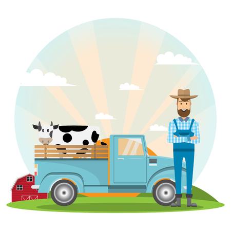 farmer cartoon character with milk cow in organic rural farm. Ilustracja