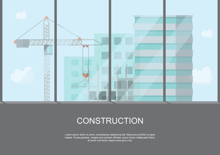 site work process under construction with cranes and machines on height building view. Vector illustration. Zdjęcie Seryjne - 98467540