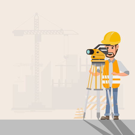 architect, foreman, engineer is working with surveyor's telescope manage a construction project at building site. vector illustration
