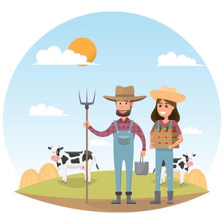 farmer cartoon character with milk cow in organic rural farm. vector illustration