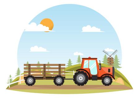 Tractor. Farmer machine delivery inside farm. Vintage transport truck. vector illustration Illustration