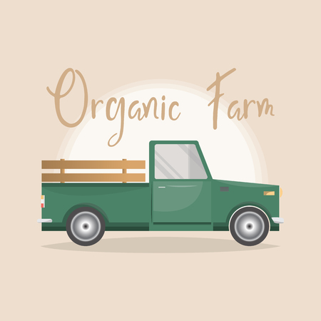 set of old retro pickup truck delivery inside farm. Vintage transport car. vector illustration