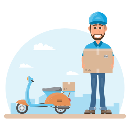 delivery man with box. Postman design isolated on white background. Courier in hat and uniform with package. Vector illustration. Flat cartoon character