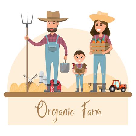 happy farmer family cartoon character in organic rural farm. vector illustration Stock Illustratie