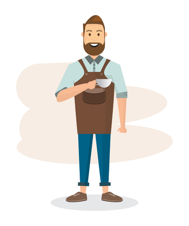 Barista man and woman with machine and accessories in a coffee shop. Vector illustration