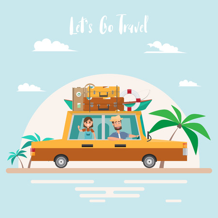 Summer trip. Family travel at the beach on vacation. Cartoon character happy dad and daughter traveling by car on summer holidays. vector illustration