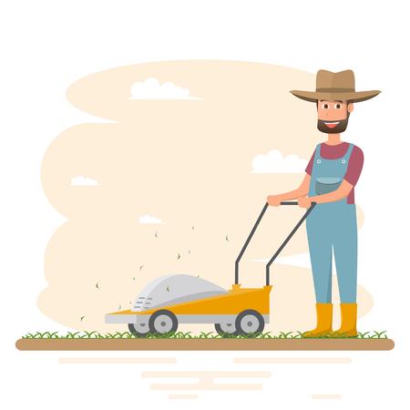 Farmer man cutting grass with mower, vector illustration