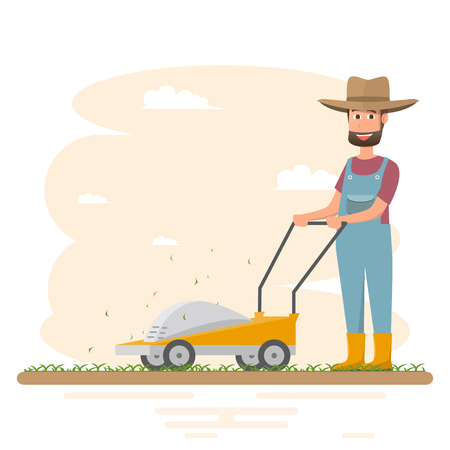 Farmer man cutting grass with mower, vector illustration