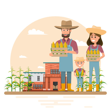 Happy farmer family cartoon character in organic rural farm. Vector illustration