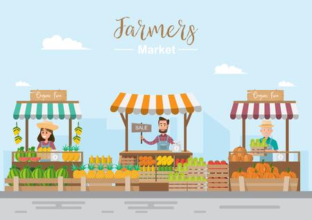 Tienda de granja. Mercado local. Venta de frutas y verduras. propietario de un negocio que trabaja en su propia tienda. ilustración vectorial plana. Comida fresca Ilustración de vector
