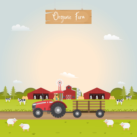 Farming with barn house and dairy farm animals. Vector illustration. Çizim