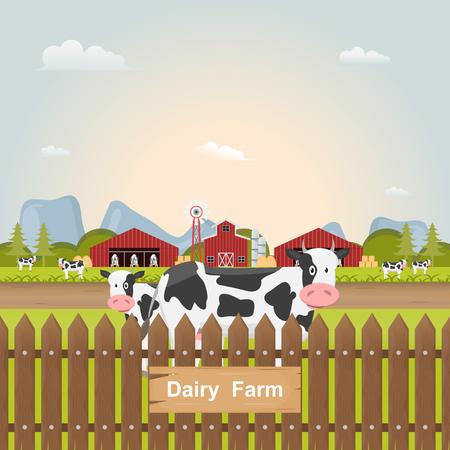 dairy farm, milk cow inside farm at countryside. Vector illustration