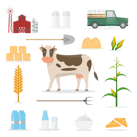happy farmer family cartoon character in organic rural farm with farm equipment. vector illustration