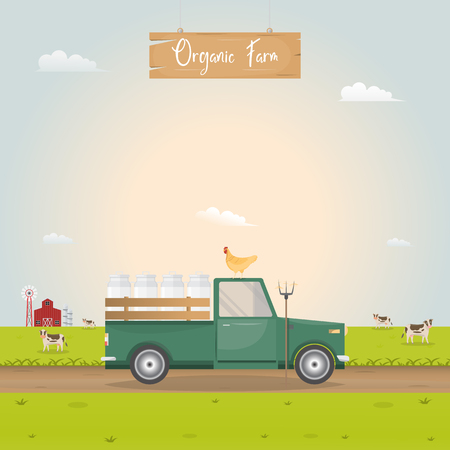 Farming with vintage car and barn house in dairy farm. Vector illustration.