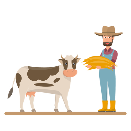 dairy farm, farmer give straw for milk cow. Vector illustration