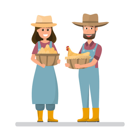 farmer holding eggs and hen. Cartoon man and woman with organic natural food from village farm, countryside