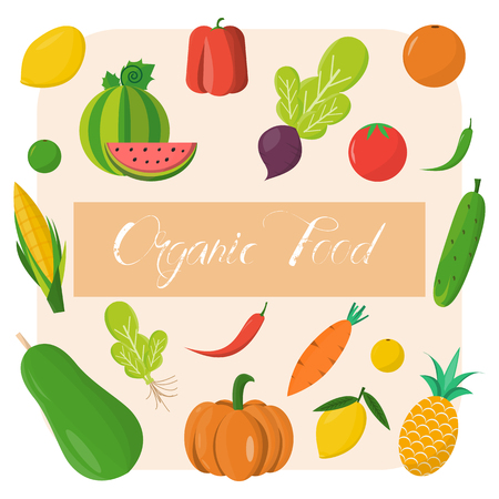 Organic food template. Vector illustration, set of vegetables and fruits. Healthy eating