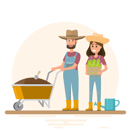 man and woman planting vegetable. Vector illustration of a flat design. farm concept