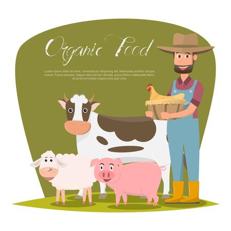 happy farmer family cartoon character in organic rural farm. vector illustration Ilustracja