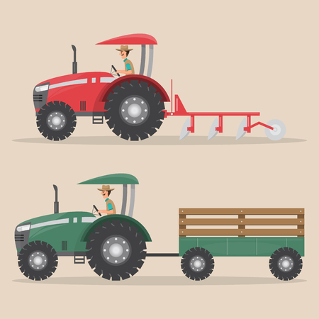 set of tractor machine in rural farm, farm truck.  vector illustration