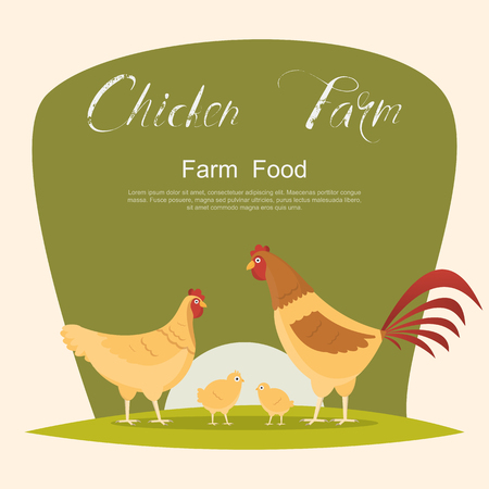 Chicken with green sign. set of animals inside farm isolated on white background. Vector illustrations